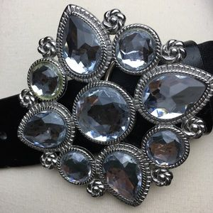 XOXO Crystal Buckle Belt with Black Leather